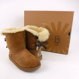 UGG Bailey Bow Chestnut Suede Boots Womens